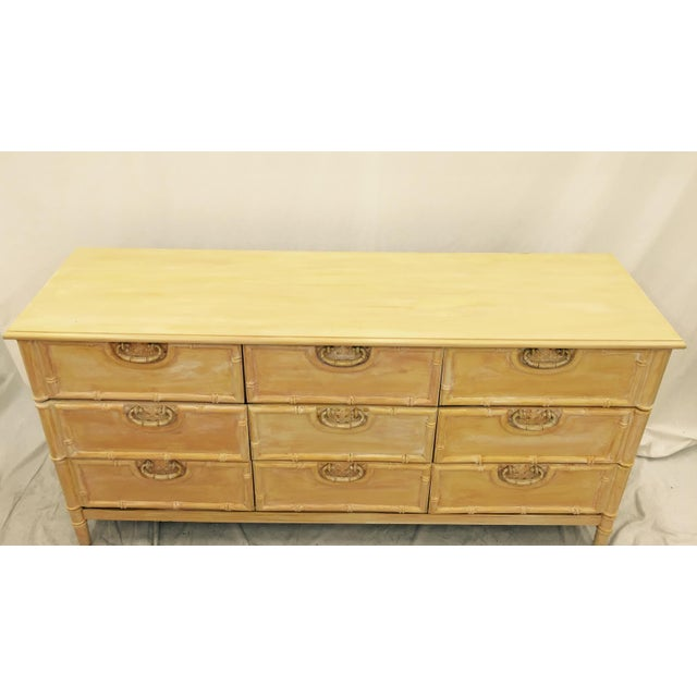 Tan Vintage Bamboo Dresser by Bassett For Sale - Image 8 of 9