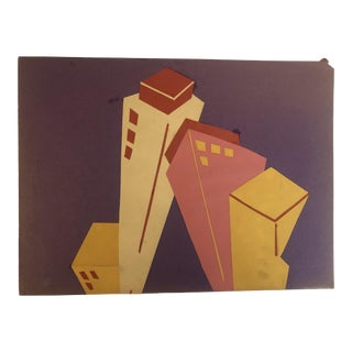 1950s Vintage Mid-Century Modern Cityscape Collage For Sale