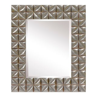 Crystal Distressed Silver Finish Accent Wall Mirror For Sale