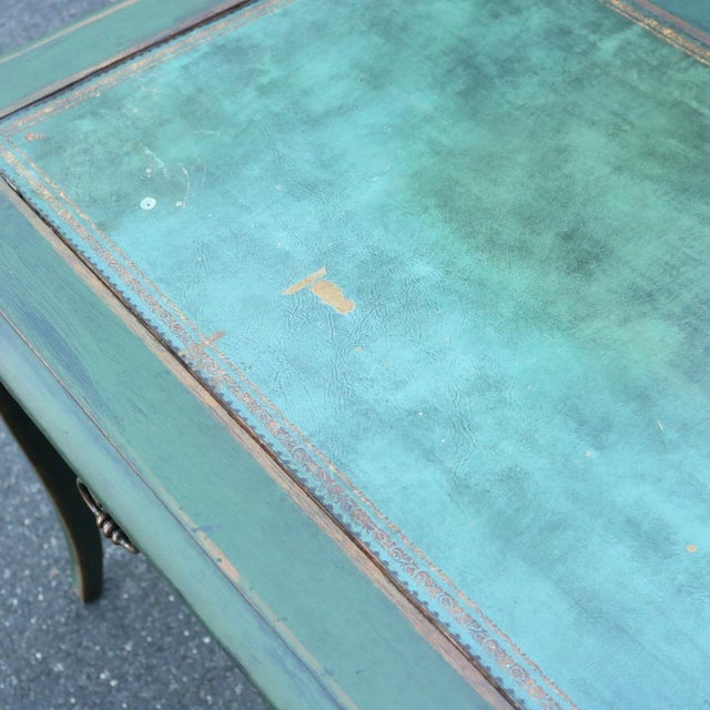 Green Antique French Provincial Leather Top Desk - Image 9 of 11