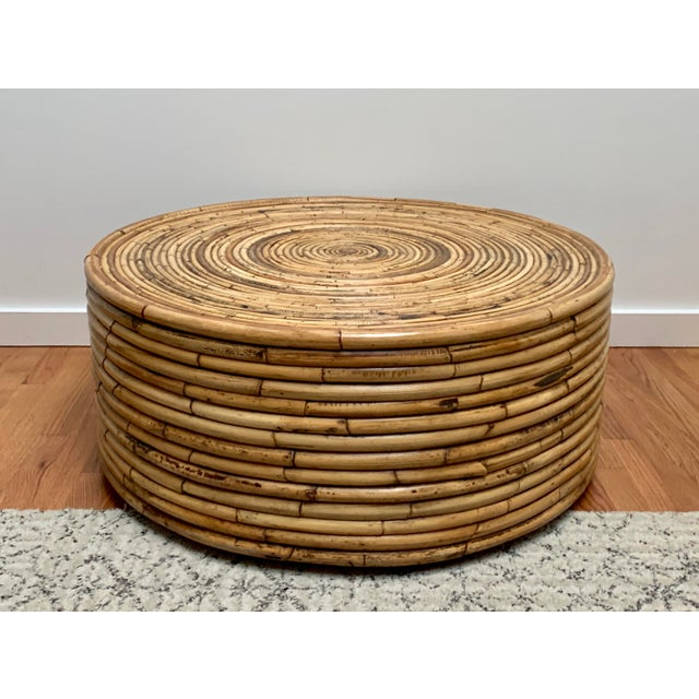 1980s Boho Chic Crespi Style Pencil Reed Rattan Cocktail Table For Sale - Image 10 of 10