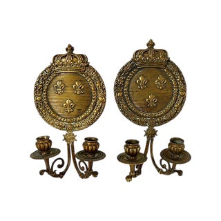 Antique French Bronze Crown Wall Sconces - a Pair