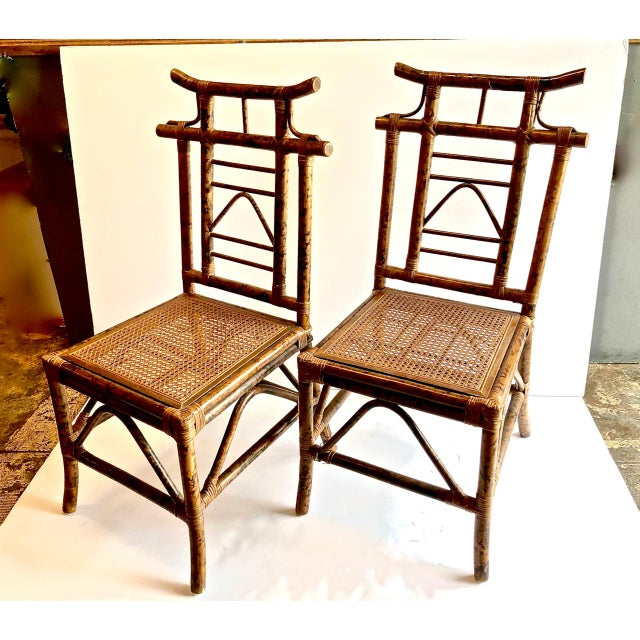 Chinoiserie Pagoda-Back Side Chairs, Set of 4 For Sale In Los Angeles - Image 6 of 6