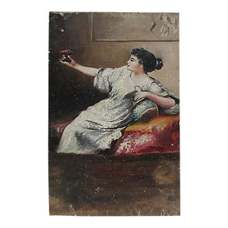 Antique French Femme Figural Oil on Wood Painting For Sale