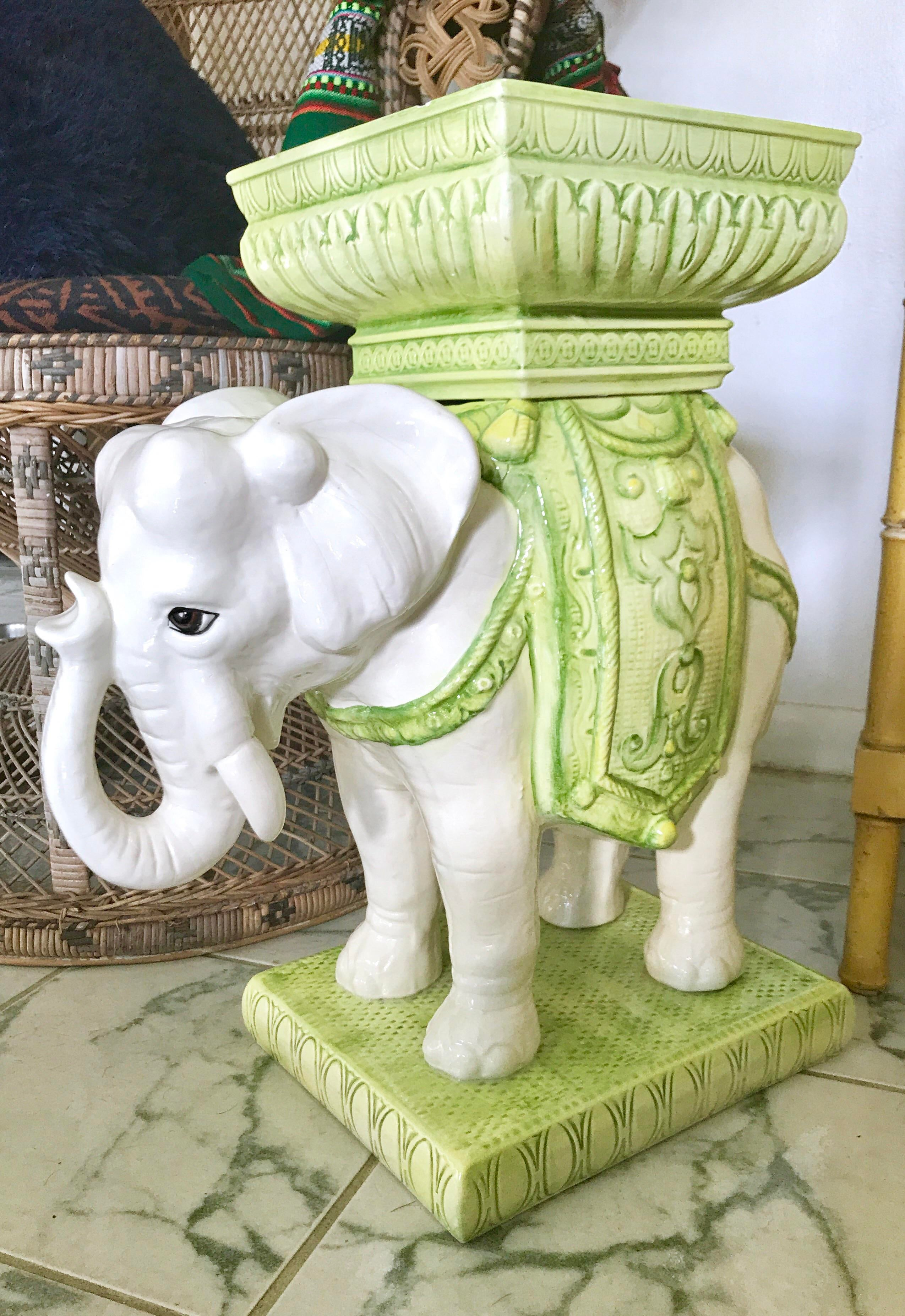Vintage Bohemian Moroccan Style White And Green Glazed Ceramic Elephant  Garden Stool   Image 2