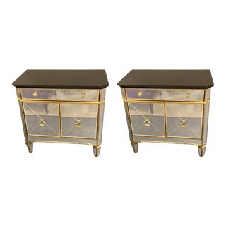 Hollywood Regency Style Mirrored Marble-Top Nightstands or End Tables - a Pair