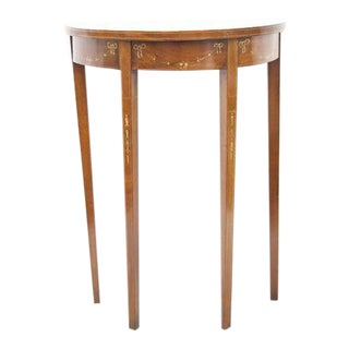 1910s Adam Floral Hand Painted Inlayed Mahogany Table For Sale