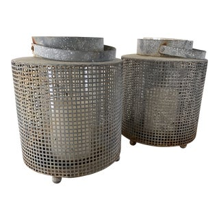 Rustic Urban Industrial Metal Patio Lanterns-Set of Two For Sale