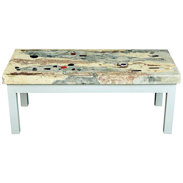 Rose Pink And Grey Marbleized Concrete Coffee Table Italy Circa