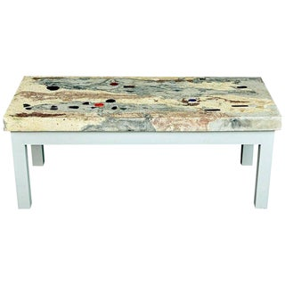Rose, Pink and Grey Marbleized Concrete Coffee Table, Italy, Circa 1950