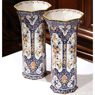 19th Century Rouen French Hand-Painted Vases - A Pair Preview