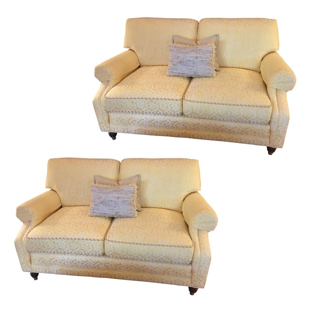 Yellow Damask Loveseats - A Pair - Image 1 of 5