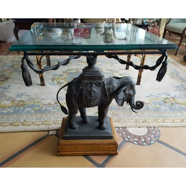 1970's Vintage Maitland Smith Bronze Leather & Glass Elephant Table For Sale - Image 9 of 13
