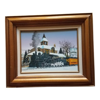 Vintage Oil Painting on Canvas by H. Hargrove of Steam Train at Champaign Illinois Station For Sale
