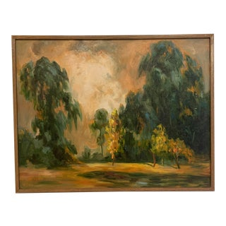Mid-Century Modern Original Landscape of Trees Framed Oil on Canvas Painting Signed For Sale