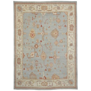 Turkish Oushak Rug With Transitional Neutral Nautical Style & Coastal Colors - 12′5″ × 17′1″ For Sale