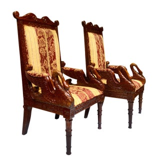 Regency Victorian Carved Mahogany Swan Club Chairs - a Pair For Sale
