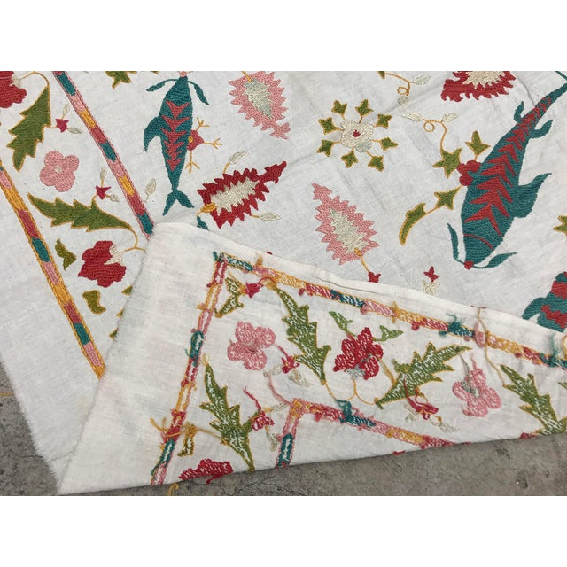Boho Chic Fish Design Silk and Cotton Suzani, Vintage Table Runner For Sale - Image 3 of 6