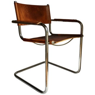 Mid-Century Modern Cantilevered Chrome and Cognac Leather Sling Armchair For Sale