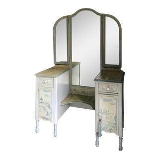 Antique Vanity With Twi-Fold Mirror, Hand Painted by Marie Colette For Sale