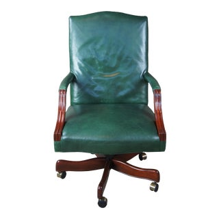 Vintage Leather Swivel Reclining Rolling Executive Desk Office Library Arm Chair For Sale