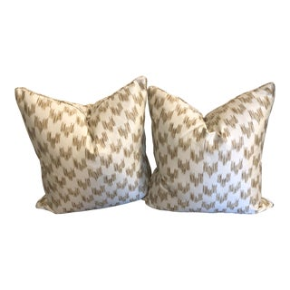 Custom Barclay Butera Gold and Cream Linen/Polyester/Rayon Pillows - a Pair For Sale