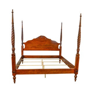 1990s British Colonial Ethan Allen King Size Cinnabar Plantation Poster Bed For Sale
