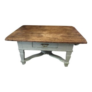 18th Century Pine and Light Blue Coffee Table For Sale