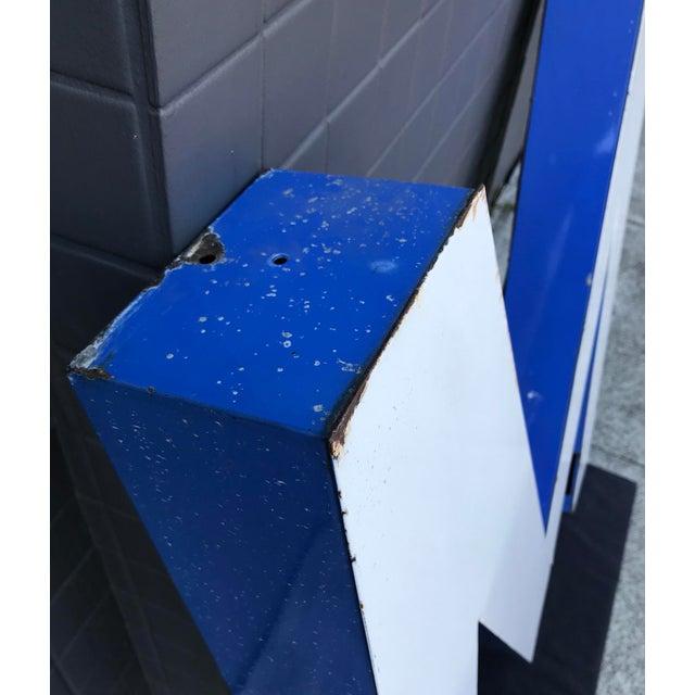 """Large Vintage Blue & White Enamel """"M"""" Building Signage For Sale In San Francisco - Image 6 of 12"""