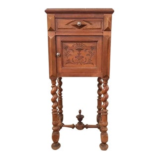 Antique French Vanity Armoire Barley Twist Stand Desk With Marble Top For Sale