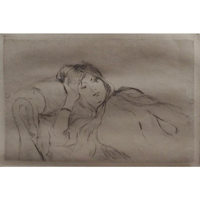 Berthe Morisot -Reclining Woman-Etching C1880s For Sale - Image 4 of 8