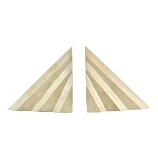 Deco-Style Tessellated Stone Bookends - A Pair
