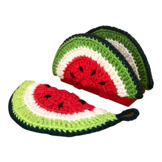 Shabby Chic Watermelon Crochet Napkin Holder and Pot Holder For Sale