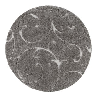 "Berkshire Shag Scrollwork Gray Round Transitional Area Rug - 3'11"" x 3'11"" For Sale"