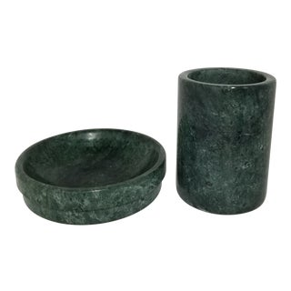 Late 20th Century Green Marble Toothbrush Holder and Soap Dish - Two Piece Set For Sale