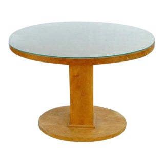 Round Wooden Pedestal Table With Glass Top For Sale