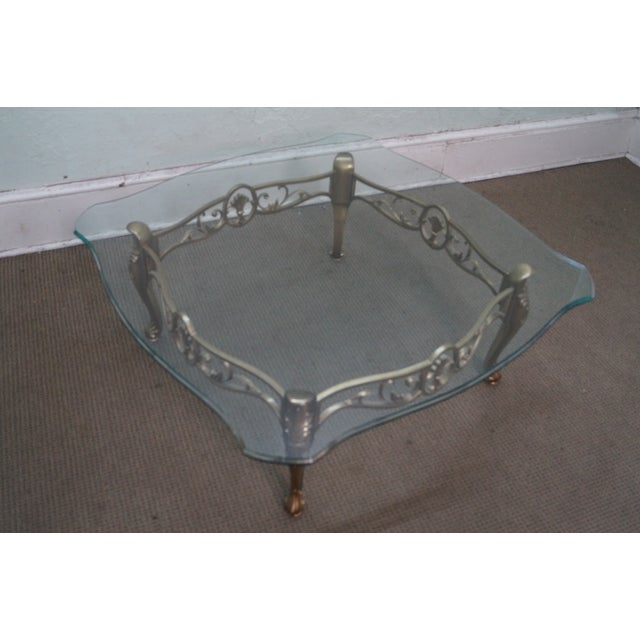 Vintage Brass & Glass French Louis XV Coffee Table - Image 8 of 10