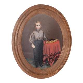 19th C. American Portrait of a Young Man With His Bible Oil Painting For Sale