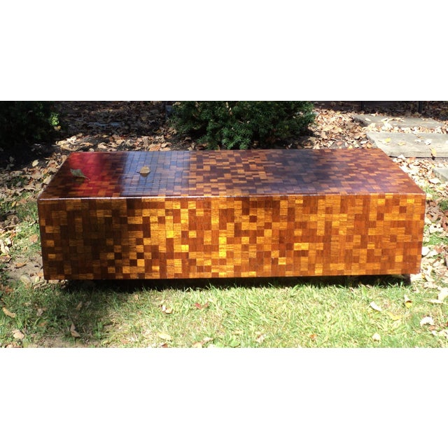 Mid-Century Modern Patchwork Wood Coffee Table - Image 2 of 11