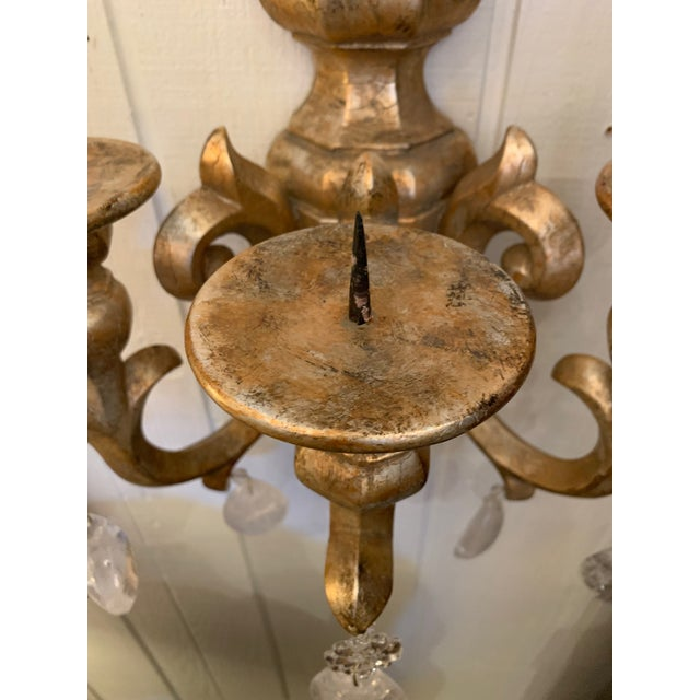 Holly Hunt Designer Giltwood Candle Sconces -A Pair For Sale - Image 4 of 13