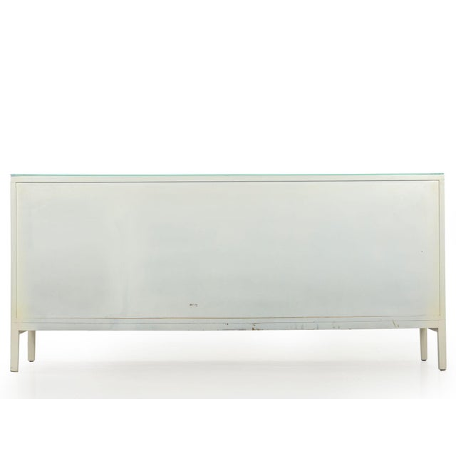 Vintage Modern White Lacquer Cabinet Credenza With Eight Drawers Circa 1980s For Sale - Image 4 of 13