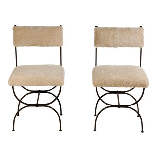 Chic 'Arcade' Wrought Iron and Shearling Chairs by Design Frères - a Pair For Sale