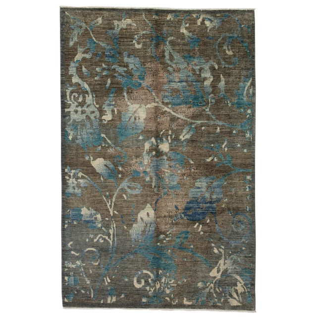 """Contemporary Hand-Knotted Rug- 6'1"""" x 9'4"""" For Sale"""