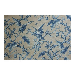 1860s French Woodblock Printed Linen & Cotton Grey Prussian Blue Birds Fabric For Sale