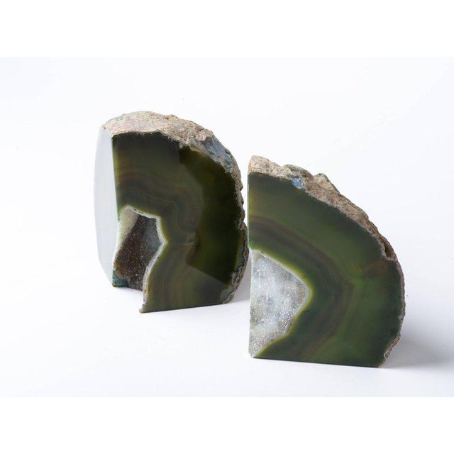 Agate Pair of Organic Modern Agate Stone and Crystal Bookends in Moss Green For Sale - Image 7 of 11