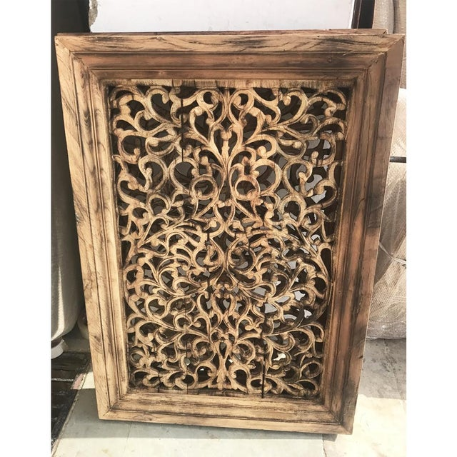 Beautiful carved teak wood panel screen with natural distressed burnt finish. Great used as ready to hang wall art or...