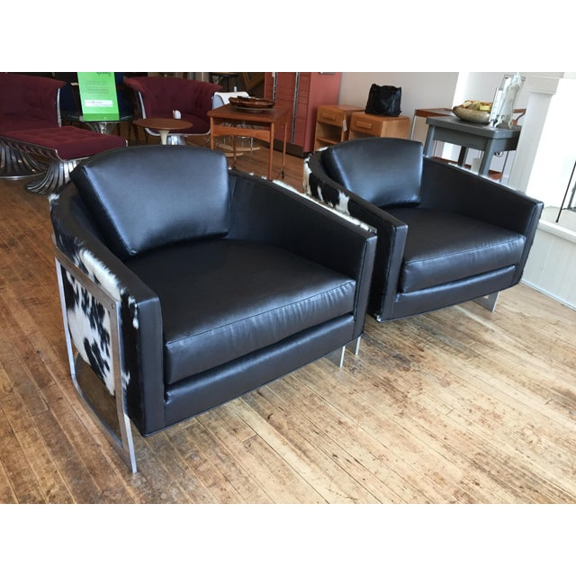 Fabulous, oversized exposed aluminum frame club chairs made by Erwin Lambeth, sold by John Stuart. Custom reupholstery in...