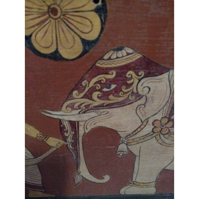 Antique Tea Chest Sri Lanka/Ceylonese Royal Procession Hand Painted For Sale - Image 11 of 12
