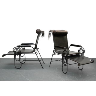 Pair of Art Deco Iron and Leather Rocking Lounge Chairs Preview