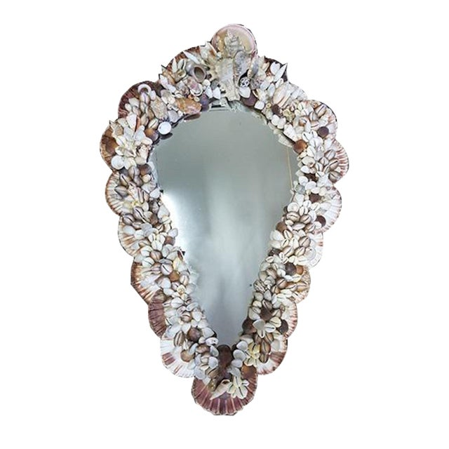 1970s Mid-Century Modern French Wall Mirror Adorned With Shells For Sale In Boston - Image 6 of 6